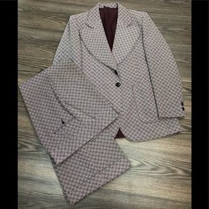 Other - Vintage 1970s Maroon Check Disco Suit 40R